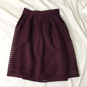 (Like New) Maroon Textured Striped Forever21 Midi